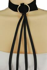 Women Gold Metal Ring Long Fringes Black Faux Leather Fashion Choker Necklace