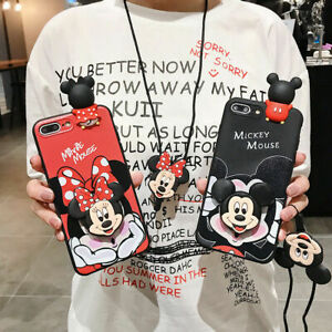For iphone 12 11 Pro Max XS 7 8+ Cute Cartoon minnie mickey strap stand tpu case