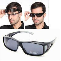 Glossy Black POLARIZED Wraparound Sunglasses Goggles Cover/Wear Fit Over Glasses