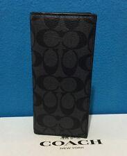 NEW COACH MEN'S SIGNATURE  PVC BREAST POCKET  WALLET CHARCOAL/BLACK F75013