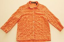 EUC Crazy Horse Orange Textured Crinkle Button Up Top Size Small