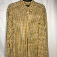 Robert Talbott Mens Button Front Shirt Size L/XL Yellow Blue Orange Plaid A3-14