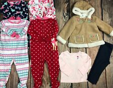 7 Pc Lot Girls Clothes Outfit Sleepers Pajamas Fall Winter Size 18 Mo