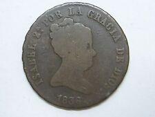 1836 GENUINE OLD ISABEL II 8 MARAVEDI SEGOVIA SPANISH SPAIN