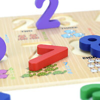 FJ- Print Wooden 0-9 Number Puzzles Board Counting Math Learning Kids Toy Eager