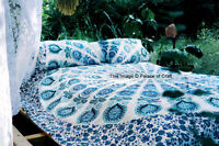 Indian Mandala Queen Bed Set Doona Quilt Duvet Cover Pure Cotton With 2 Pillows