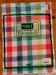 NIKI Home Classics 52 INCH BISTRO CHECK Multi-colored TABLECLOTH NIP