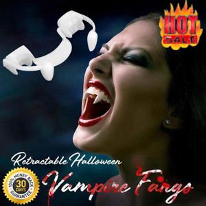 Retractable Vampire Teeth Halloween Cosplay Makeup Zombie Teeth Horrific Fangs