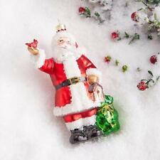 "NEW Raz 5.5"" Santa with Cardinal Glass Christmas Tree Ornament 3952917"