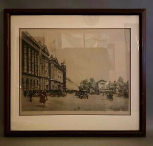 TAVIK FRANTISEK SIMON framed etching Paris Street Scene - Hudson's Detroit Tag