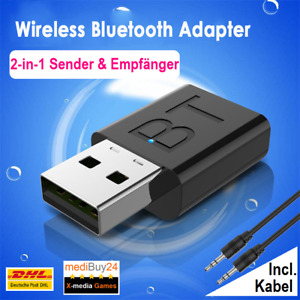 2in1 Bluetooth Adapter Sender Empfänger USB Transmitter TV PC AUX Audio 5.0⭐NEU⭐