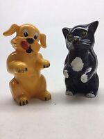 Vintage Pair F&F Cat & Dog Hard Plastic Salt And Pepper Shakers