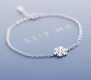 Winter Christmas Snowflake S925 Sterling Silver Women Ladies Chain Bracelet Gift