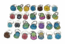 100 PCs. Lot !! SOLAR DRUZY QUARTZ 925 Sterling Silver Plated Ring Jewelry