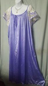 "Ventura Purple White Nightgown Lace Long Plus Size 5X 70"" Bust"