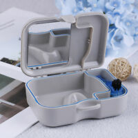 Denture false teeth storage box case with mirror and clean brush appliance Fz