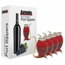 Port Sippers Set 4 Glass Decanter White Red Wine Pipe Liqueurs Sipper Gift Boxed