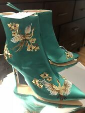 ZARA BNWT AW17 EMBROIDERED SATIN HIGH HEEL ANKLE BOOTS 6065/201 EU 37 US 6.5