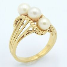 14k Yellow Gold & Pearl Stone Ring Size 5.75