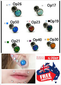 316L Opal Internal Thread 16g Bar Stud Ring Lip Ear Nose Tragus Helix Piercing