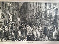 ANTIQUE PRINT DATED 1876 PETTICOAT LANE LONDON MARKET ENGRAVING HISTORY ART