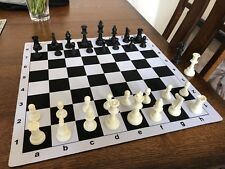 Triple Weight Chess Pieces & Black and White Mousepad Chessboard Sets