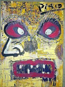 Pablo Picasso Canvas Portrait Original Painting. Signed.