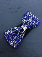 FREE GIFT BAG Men's Wear Bow Tie Sparkly Glitter Blue New Year Xmas Party