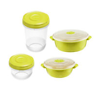 8pc MICROWAVE POT Food Bowl STORAGE CONTAINER Vented Microwavable Pot LIME GREEN