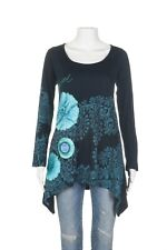 DESIGUAL Embroidered Shirt XL Blue Floral Embellished Asymmetrical Tee Top