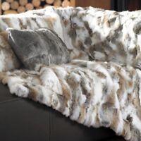 Luxury Rabbit Fur Throw 100% Real Rex skin Fur 2019 Soft Bedspread Blanket Pelt