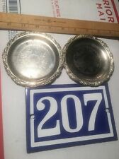 "VTG Pair Decorative Silver Plated EP ON STEEL 4"" Coaster NICE PATINA - Pre Owned"
