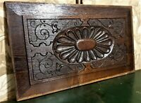 Flower rosette scroll wood carving panel Antique french architectural salvage