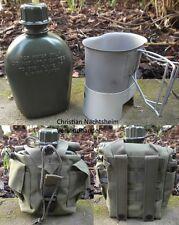 Campingset 1 Ltr Trinkflasche mit Becher + Ständer Kocher + Molle Tasche oliv