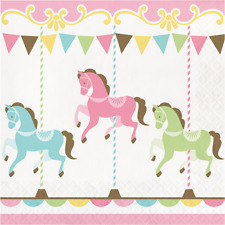Carousel Baby Shower Napkins 16 Pack Pastel Merry Go Round 1st Birthday