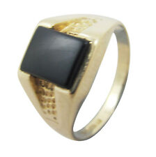 9ct Yellow Gold Solid Black Onyx Rectangle Patterned Signet Ring Size L US 6