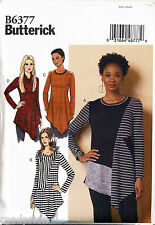 BUTTERICK SEWING PATTERN 6377 MISSES 6-14 PULLOVER TUNICS W/ ASYMMETRICAL HEMS
