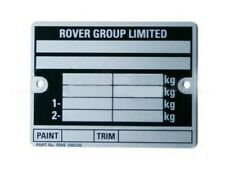 CLASSIC MINI 'ROVER GROUP LIMITED' CHASSIS PLATE CP477 (INCLUDING STAMPING)