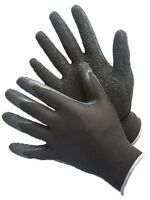 1 DOZEN 12 PAIRS POLYESTER SHELL WITH TEXTURED BLACK LATEX COATING WORK GLOVES-L