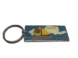 SAIL FLORIDA Souvenir Key Ring SAILBOAT Keychain FLUFFY CLOUDS Porte-clé FLORIDE