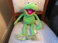 """DISNEY STORE THE MUPPETS KERMIT THE FROG 17"""" SOFT TOY PLUSH VGC BADGE TO FOOT"""