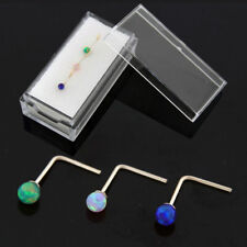 3 Pieces 22G 9K Solid Yellow Gold Opal Stone L-Shape Nose Stud in Box