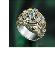 The Franklin Mint Power of The Emerald Isle Celtic Cross Ring Men's Size 12 New
