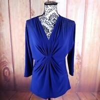 Chaus Blue Women's Jeweled Shoulder Top Size S B157