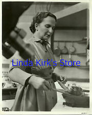 Dione Lucas Photograph At Stove With Camera On Cooking Show Set CBS-TV B&W
