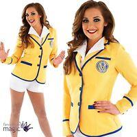 Adult Womens Hi De Hi Costume 80s Yellow Coat Holiday Camp Fancy Dress Outfit