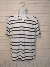 Men's Nike Golf Dri Fit White Black Striped Golf Polo, Size M