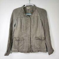Eileen Fisher Women's Top PP Petite XS Linen Gray Green Long Sleeve Button Army