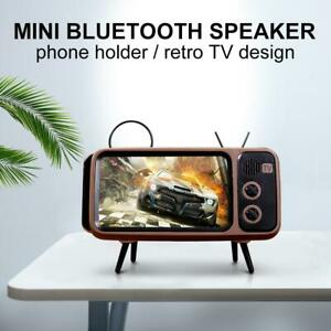 Portable Retro Mini Bluetooth Speaker TV Design Mobile Phone Holder FM Radio NEW