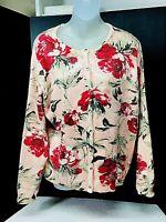 Isaac Mizrahi Live! Women's Sweater Sz L Cardigan Rose Print Pink A284091